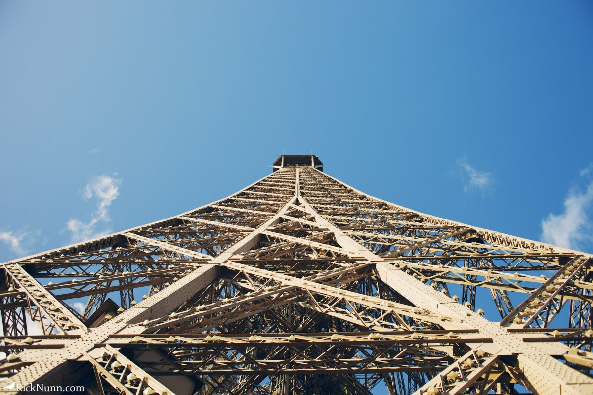 Paris - Looking up the tower Photographed by Rick Nunn