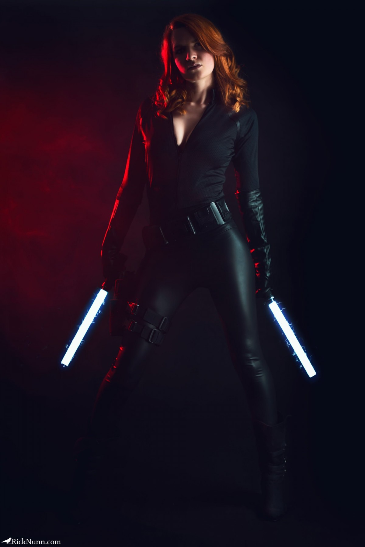 Black Widow - Strobist Portrait of Spadge as Black Widow with Glowing Batons Photographed by Rick Nunn